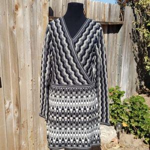 Ethyl multi pattern gray sweater dress
